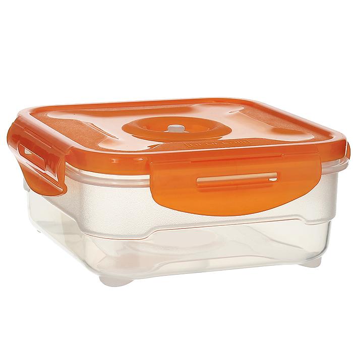 Контейнер вакуумный для пищевых продуктов Atlantis, цвет: оранжевый, 0,8 лАксион Т-33Контейнер Atlantis квадратной формы предназначен для хранения пищевых продуктов. Контейнер изготовлен из пищевого пластика, в состав которого включена антибактериальная добавка Microban. Microban, встроенный в структуру пластика, препятствует размножению микроорганизмов, уничтожает до 99,6% бактерий, находящихся на поверхности изделия.Сила межмолекулярных связей внутри полимера удерживает антисептик на поверхности и он не распространяется в сохраняемый продукт.Не изменяет вкусовых свойств хранимых в контейнере продуктов, препятствует размножению болезнетворных бактерий, сохраняет антибактериальные свойства в течение всего срока использования контейнера.Продукты сохраняются свежими дольше, чем в обычных контейнерах.Позволяет предотвратить загрязнение и неприятный запах, вызываемый бактериями, грибком и плесенью. Продукты в вакуумном контейнере можно ставить в морозилку или разогреватьв микроволновой печи, не снимая при этом крышку контейнера.Состояние вакуума достигается в контейнере с помощью вакуумного насоса.Контейнер универсален, вы сможете хранить, замораживать, разогревать самыеразнообразные продукты. Характеристики:Материал: пластик. Объем контейнера: 0,8 л. Размер контейнера (с крышкой): 16 см х 16 см х 7 см. Артикул: VS2R-51-O.