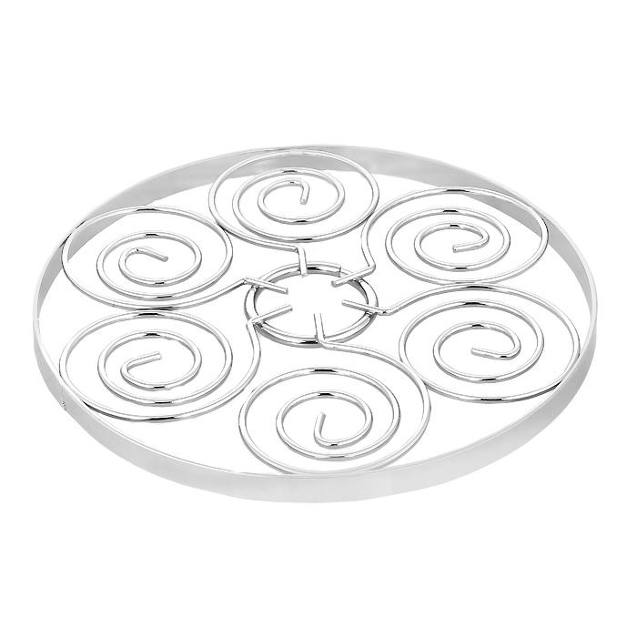 Подставка декоративная для горячего Swirl. 0509781115510Декоративная подставка для горячего Swirl выполнена из стали. Подставка оформлена изящным орнаментом. Такая яркая подставка не только оригинально украсит ваш стол, но и сбережет его от высоких температур. Характеристики:Материал: сталь. Диаметр подставки: 17,5 см. Высота подставки: 1 см. Артикул: 0509781.