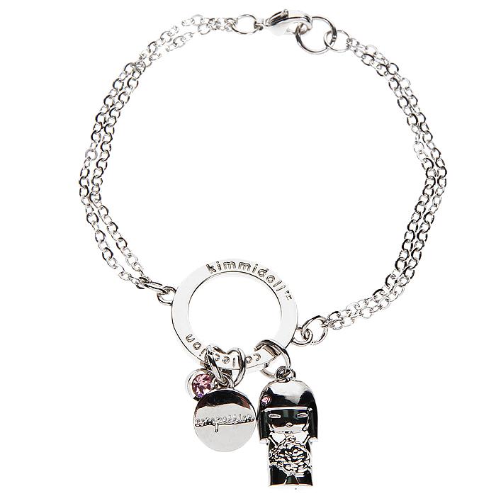 Браслет женский Kimmidoll Юмико (Симпатия), цвет: серебристый. KF0915Браслет с подвескамиОчаровательный браслет, выполненный с подвеской в виде куколки Юмико и двух дополнительных подвесок из высококачественного металла, оформлен кристаллами Swarovski розового цвета и упакован в подарочную коробку. Такой браслет с лазерной гравировкой прекрасно подойдет к любому образу.Привет, меня зовут Юмико! Я талисман симпатии. Мой дух искренний и заботливый. Проявляя искреннюю доброту и сочувствие к другим, Вы раскрываете силу моего духа. Пусть Ваша симпатия и доброта души привнесет прочность и комфорт в жизни всех тех, кого Вы встретите на своем пути! Характеристики: Материал: металл, кристаллы Swarovski. Цвет: серебристый. Обхват браслета: 16 см. Размер подвески-куколки: 1,7 см х 1 см х 0,3 см. Размер упаковки: 9,5 см х 9,5 см х 2 см. Производитель: Китай. Артикул: KF0915.