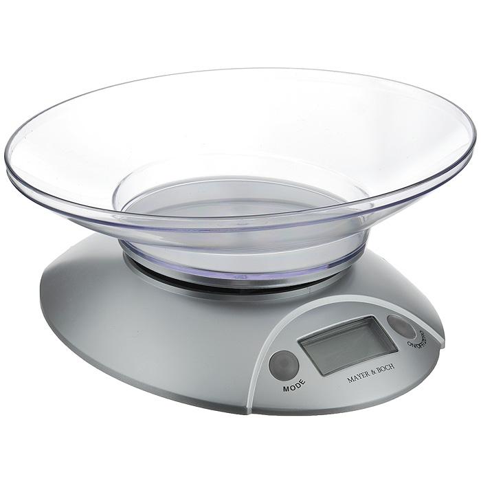 Весы кухонные Mayer & Boch, до 3 кг. 2091120911Весы кухонные Mayer & Boch позволят вам взвесить с точностью до грамма продукты весом до 3 кг. Весы оснащены тензометрическим датчиком высокой точности. Корпус весов и чаша для продуктов выполнены из ударопрочного пластика. Весы оснащены электронным дисплеем. На корпусе расположены две кнопки управления: кнопка включения/отключения и обнуления веса - On/Off/Zero и кнопка выбора меры весов - Mode. В весах предусмотрено 4 единицы измерения - kg, lb, st, g. Если вы забудете отключить весы, они отключатся автоматически через 2 минуты.Кухонные весы Mayer & Boch придутся по душе каждой хозяйке и станут незаменимым аксессуаром на кухне. Характеристики: Материал: пластик. Размер основания весов: 19 см х 17 см х 4 см. Размер чаши: 22,5 см х 17,5 см х 5 см. Максимальный вес: 3 кг. Цена деления: 1 г. Точность измерения: 1 г. Размер упаковки: 23,5 см х 7 см х 18,5 см. Артикул: 20911. Весы работают от 1 батарейки мощностью 3V типа CR2032 (входит в комплект).