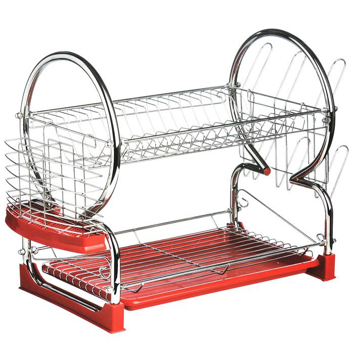 Сушилка для посуды Premier Housewares, 2 яруса, цвет: красный21395599Двухъярусная сушилка для посуды Premier Housewares выполнена из высококачественной хромированной стали и красного пластика.В сушилке предусмотрены отделения для тарелок, чашек и столовых приборов. Благодаря конструкции с вместительным поддоном для сбора воды, вы не будете тратить время на вытирание посуды после мытья. Удобные ручки позволят перенести посуду прямо в сушилке. Стальная часть конструкции защищена от коррозии хромированным покрытием, что гарантирует ей продолжительное время эксплуатации и эстетичный внешний вид.Сушилка для посуды Premier Housewares станет незаменимым помощником на кухне. Компактность сушилки позволит расположить ее по вашему усмотрению - на свободном крыле мойки, на столешнице или в навесных шкафах кухонного гарнитура.Оригинальный и современный внешний вид идеально дополнит интерьер кухонного пространства. Характеристики:Материал: хромированная сталь, пластик. Размер сушилки: 56 см х 25 см х 39 см. Размер упаковки: 44,5 см х 26 см х 12 см. Артикул: 0509586.
