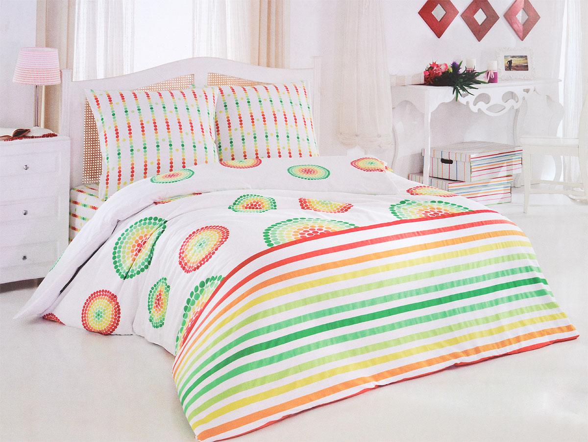 Комплект белья Tete-a-Tete Радуга (1,5 спальный КПБ, сатин, наволочки 70х70)CA-3505Комплект постельного белья Tete-a-Tete Радуга является экологически безопасным для всей семьи, так как выполнен из натурального хлопка (сатина). Комплект состоит из простыни, пододеяльника и двух наволочек. Предметы комплекта белого цвета оформлены ярким рисунком.Сатин производится из высших сортов хлопка, а своим блеском, легкостью и на ощупь напоминает шелк. Такая ткань рассчитана на 200 стирок и более. Постельное белье из сатина превращает жаркие летние ночи в прохладные и освежающие, а холодные зимние - в теплые и согревающие. Благодаря натуральному хлопку, комплект постельного белья из сатина приобретает способность пропускать воздух, давая возможность телу дышать. Одно из преимуществ материала в том, что он практически не мнется, и ваша спальня всегда будет аккуратной и нарядной.Рекомендации по уходу: - Стирка изделий с нейтральными моющими средствами в теплой воде при максимальной температуре 40°С (для темных тканей) и при температуре 60°С (для светлых тканей). - Не отбеливать. Не рекомендуется использовать хлоросодержащие моющие средства и стиральные порошки с отбеливателями. - Утюжить при средней температуре (до 150°С) через слегка увлажненную ткань или утюгом с пароувлажнителем. - Сушить при низкой температуре. - Не подвергать химчистке. Характеристики: Материал: сатин (100% хлопок). Цвет: мульти. Размер упаковки: 28 см х 37 см х 6,5 см. В комплект входят:Пододеяльник - 1 шт. Размер: 150 см х 215 см. Простыня - 1 шт. Размер: 160 см х 215 см. Наволочка - 2 шт. Размер: 70 см х 70 см. Коллекция постельного белья Tete-a-Tete - российская новинка, выполненная в лучших европейских традициях из роскошного премиум-сатина (более плотного и мягкого по сравнению с обычным сатином). Потребительские качества постельного белья Tete-a-Tete обусловлены выбором материала для пошива. Компания использует 100% египетский хлопок для изготовления тканей. Качество красителей и ткани надолго позвол