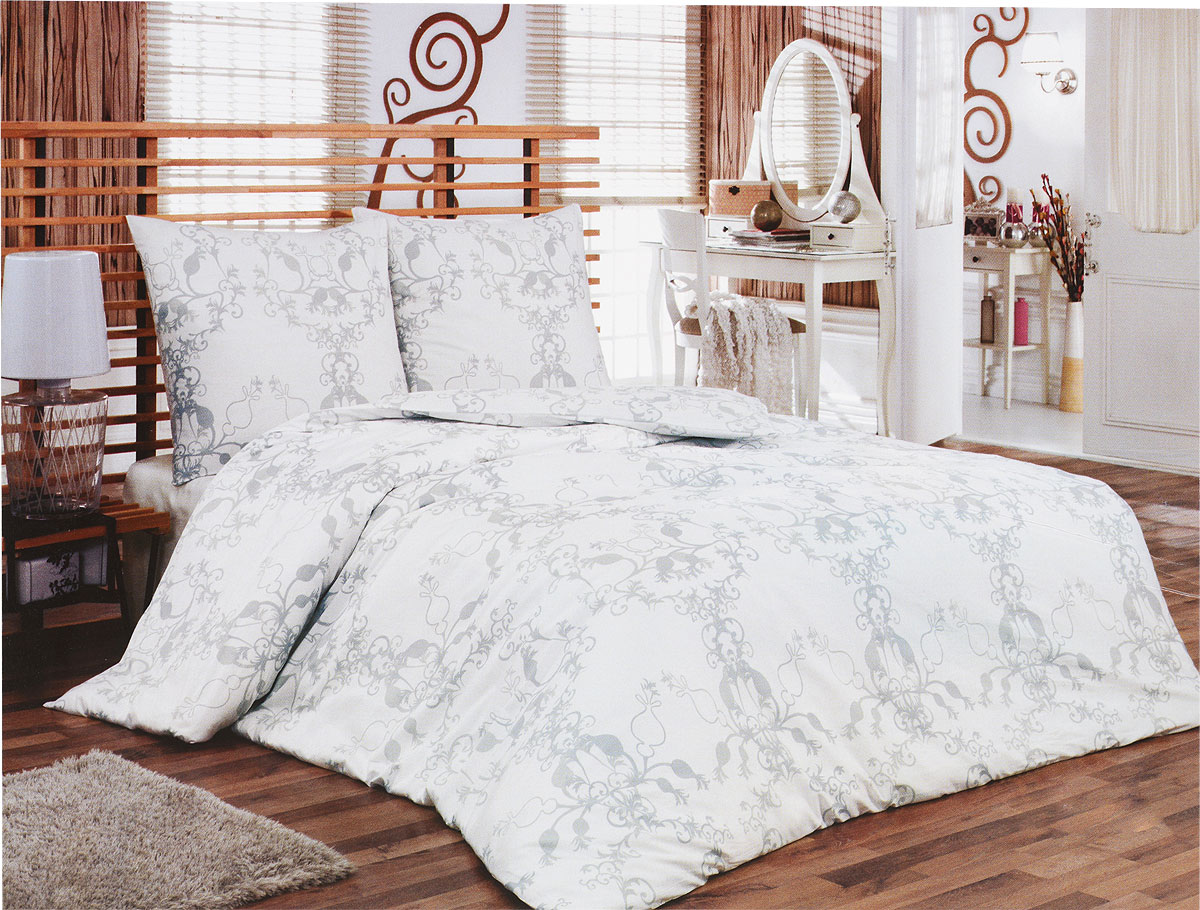 Комплект белья Tete-a-Tete Метель (1,5 спальный КПБ, сатин, наволочки 70х70), цвет: белый, серый68/5/3Комплект постельного белья Tete-a-Tete Метель является экологически безопасным для всей семьи, так как выполнен из натурального хлопка (сатина). Комплект состоит из простыни, пододеяльника и двух наволочек. Предметы комплекта белого цвета оформлены изящным серым узором.Сатин производится из высших сортов хлопка, а своим блеском, легкостью и на ощупь напоминает шелк. Такая ткань рассчитана на 200 стирок и более. Постельное белье из сатина превращает жаркие летние ночи в прохладные и освежающие, а холодные зимние - в теплые и согревающие. Благодаря натуральному хлопку, комплект постельного белья из сатина приобретает способность пропускать воздух, давая возможность телу дышать. Одно из преимуществ материала в том, что он практически не мнется, и ваша спальня всегда будет аккуратной и нарядной.Рекомендации по уходу: - Стирка изделий с нейтральными моющими средствами в теплой воде при максимальной температуре 40°С (для темных тканей) и при температуре 60°С (для светлых тканей). - Не отбеливать. Не рекомендуется использовать хлоросодержащие моющие средства и стиральные порошки с отбеливателями. - Утюжить при средней температуре (до 150°С) через слегка увлажненную ткань или утюгом с пароувлажнителем. - Сушить при низкой температуре. - Не подвергать химчистке. Характеристики: Материал: сатин (100% хлопок). Цвет: белый, серый. Размер упаковки: 28 см х 37 см х 6,5 см. В комплект входят:Пододеяльник - 1 шт. Размер: 150 см х 215 см. Простыня - 1 шт. Размер: 160 см х 215 см. Наволочка - 2 шт. Размер: 70 см х 70 см. Коллекция постельного белья Tete-a-Tete - российская новинка, выполненная в лучших европейских традициях из роскошного премиум-сатина (более плотного и мягкого по сравнению с обычным сатином). Потребительские качества постельного белья Tete-a-Tete обусловлены выбором материала для пошива. Компания использует 100% египетский хлопок для изготовления тканей. Качество кр