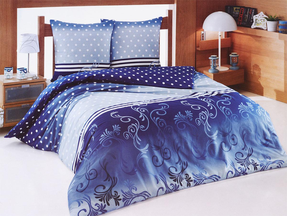 Комплект белья Tete-a-Tete Сумерки (2-х спальный КПБ, сатин, наволочки 70х70), цвет: синий, белый391602Комплект постельного белья Tete-a-Tete Сумерки является экологически безопасным для всей семьи, так как выполнен из натурального хлопка (сатина). Комплект состоит из простыни, пододеяльника и двух наволочек. Предметы комплекта темно-синего цвета оформлены принтом в горошек и изящным узором.Сатин производится из высших сортов хлопка, а своим блеском, легкостью и на ощупь напоминает шелк. Такая ткань рассчитана на 200 стирок и более. Постельное белье из сатина превращает жаркие летние ночи в прохладные и освежающие, а холодные зимние - в теплые и согревающие. Благодаря натуральному хлопку, комплект постельного белья из сатина приобретает способность пропускать воздух, давая возможность телу дышать. Одно из преимуществ материала в том, что он практически не мнется, и ваша спальня всегда будет аккуратной и нарядной.Рекомендации по уходу: - Стирка изделий с нейтральными моющими средствами в теплой воде при максимальной температуре 40°С (для темных тканей) и при температуре 60°С (для светлых тканей). - Не отбеливать. Не рекомендуется использовать хлоросодержащие моющие средства и стиральные порошки с отбеливателями. - Утюжить при средней температуре (до 150°С) через слегка увлажненную ткань или утюгом с пароувлажнителем. - Сушить при низкой температуре. - Не подвергать химчистке. Характеристики: Материал: сатин (100% хлопок). Цвет: синий, белый. Размер упаковки: 28 см х 37 см х 7 см. В комплект входят:Пододеяльник - 1 шт. Размер: 175 см х 220 см. Простыня - 1 шт. Размер: 220 см х 220 см. Наволочка - 2 шт. Размер: 70 см х 70 см. Коллекция постельного белья Tete-a-Tete - российская новинка, выполненная в лучших европейских традициях из роскошного премиум-сатина (более плотного и мягкого по сравнению с обычным сатином). Потребительские качества постельного белья Tete-a-Tete обусловлены выбором материала для пошива. Компания использует 100% египетский хлопок для изготовления