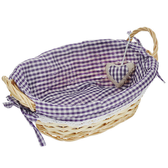 Корзинка для хлеба Premier Housewares, овальная, цвет: фиолетовый, 27 см х 19 см х 13 смVT-1520(SR)Овальная корзинка для хлеба Premier Housewares сплетена из лозы. На внутреннюю поверхность корзинки надет хлопковый чехол с рисунком в фиолетовую клетку, благодаря ему крошки не просыпаются на стол. Корзинка оснащена двумя удобными ручками и украшена декоративным элементом в виде сердечка.В холодный зимний день приятная цветовая гамма корзинки в сочетании с оригинальным дизайном навевают воспоминания о лете, тем самым способствуя улучшению настроения и полноценному отдыху. Характеристики:Материал: лоза, хлопок. Цвет: фиолетовый. Размер корзинки (с учетом ручек) (Д х Ш х В): 29 см х 19 см х 13 см. Размер корзинки (без учета ручек) (Д х Ш х В): 29 см х 19 см х 9 см. Артикул: 1901047.