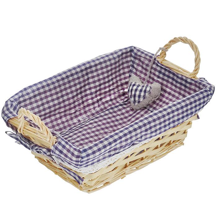 Корзинка для хлеба Premier Housewares, прямоугольная, цвет: фиолетовый, 25 х 18 х 13 смFA-5125 WhiteПрямоугольная корзинка для хлеба Premier Housewares сплетена из лозы. На внутреннюю поверхность корзинки надет хлопковый чехол с рисунком в фиолетовую клетку, благодаря ему крошки не просыпаются на стол. Корзинка оснащена двумя удобными ручками и украшена декоративным элементом в виде сердечка.В холодный зимний день приятная цветовая гамма корзинки в сочетании с оригинальным дизайном навевают воспоминания о лете, тем самым способствуя улучшению настроения и полноценному отдыху. Характеристики:Материал: лоза, хлопок. Цвет: фиолетовый. Размер корзинки (с учетом ручек) (Д х Ш х В): 25 см х 18 см х 13 см. Размер корзинки (без учета ручек) (Д х Ш х В): 25 см х 18 см х 9 см. Артикул: 1901049.
