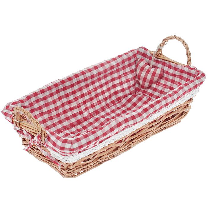 Корзинка для хлеба Premier Housewares, прямоугольная, цвет: красный, 35 х 17 х 13 см1901056Прямоугольная корзинка для хлеба Premier Housewares сплетена из лозы. На внутреннюю поверхность корзинки надет хлопковый чехол с рисунком в красную клетку, благодаря ему крошки не просыпаются на стол. Корзинка оснащена двумя удобными ручками и украшена декоративным элементом в виде сердечка.В холодный зимний день приятная цветовая гамма корзинки в сочетании с оригинальным дизайном навевают воспоминания о лете, тем самым способствуя улучшению настроения и полноценному отдыху. Характеристики:Материал: лоза, хлопок. Цвет: красный. Размер корзинки (с учетом ручек) (Д х Ш х В): 35 см х 17 см х 13 см. Размер корзинки (без учета ручек) (Д х Ш х В): 35 см х 17 см х 9 см. Артикул: 1901056.