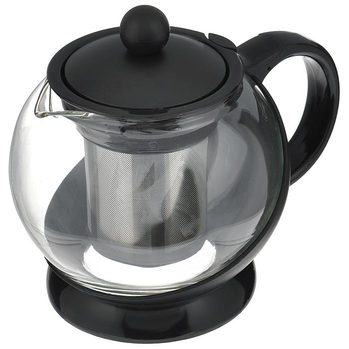 Чайник заварочный Hans & Gretchen, с фильтром, цвет: черный, 0,75 л. 14YS-8240115510Заварочный чайник Hans & Gretchen изготовлен из экологически чистых и безопасных материалов. Колба выполнена из прочного термостойкого стекла Pyrex, выдерживающего температуру до 150°С. Пластиковые детали изготовлены из прочного нетоксичного материала. Чайник оснащен металлическим фильтром. Чайник используется только для приготовления чая. Простой и удобный прибор поможет вам приготовить крепкий, ароматный чай. Рекомендации по использованию: - не используйте посуду в случае появления трещин или сколов; - не используйте в СВЧ; - можно мыть в посудомоечной машине. Диаметр по верхнему краю: 8,5 см.Высота (без учета крышки): 11 см.Высота фильтра: 6,5 см.