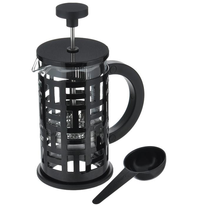 Кофейник Bodum Eileen с прессом, с ложечкой, цвет: черный, 0,35 л11198-01Кофейник Bodum Eileen представляет собой колбу из термостойкого стекла в цельной оправе из окрашенной нержавеющей стали. Оправа защищает хрупкую колбу от толчков и ударов. Кофейник оснащен стальным фильтром french press, который позволяет легко и просто приготовить отличный напиток. Ненагревающаяся ручка кофейника выполнена из пластика. В комплекте небольшая мерная ложечка из черного пластика.Благодаря такому кофейнику приготовление вкуснейшего ароматного и крепкого кофе займет всего пару минут. Профессиональная серия Eileen была задумана и создана в честь великого архитектора и дизайнера - Эйлин Грей (Eileen Gray). При создании серии были особо учтены соображения функционального удобства. Стильный внешний вид и практичность в использовании сделали Eileen чрезвычайно востребованной серией. Характеристики:Материал: нержавеющая сталь, пластик, стекло. Цвет: черный. Объем: 0,35 л. Диаметр кофейника по верхнему краю: 7 см. Высота стенки кофейника: 13,5 см. Длина ложечки: 10 см. Размер упаковки: 12,5 см х 8,5 см х 12 см. Артикул: 11198-01.