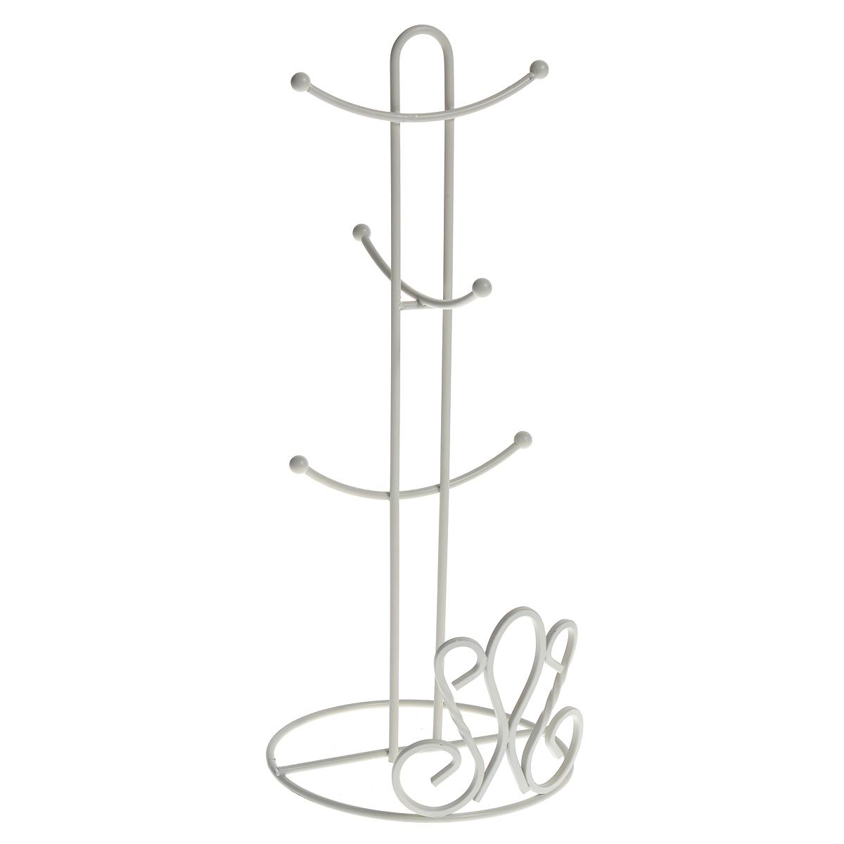 Подставка De Lis для 6 кружек, цвет: белыйVT-1520(SR)Подставка для шести кружек De Lis, выполненная из стали белого цвета, приведет Вас в восхищение. Это незаменимая вещь для кухни, где не так уж и много свободного пространства. Она представляет собой круглое резное основание, к которому крепится вертикальный стержень. К стержню присоединены небольшие крючки, на которые вешаются кружки. Края крючков декорированы небольшими шариками.Подставка De Lis прекрасно подойдет в домашнем быту, она позволяет хранить кружки компактно. Просто повесьте их за ручки на эту подставку. Характеристики:Материал: нержавеющая сталь. Цвет: белый. Высота подставки: 38 см. Диаметр основания: 15 см. Длина крючка: 5,5 см. Артикул: 0508281.