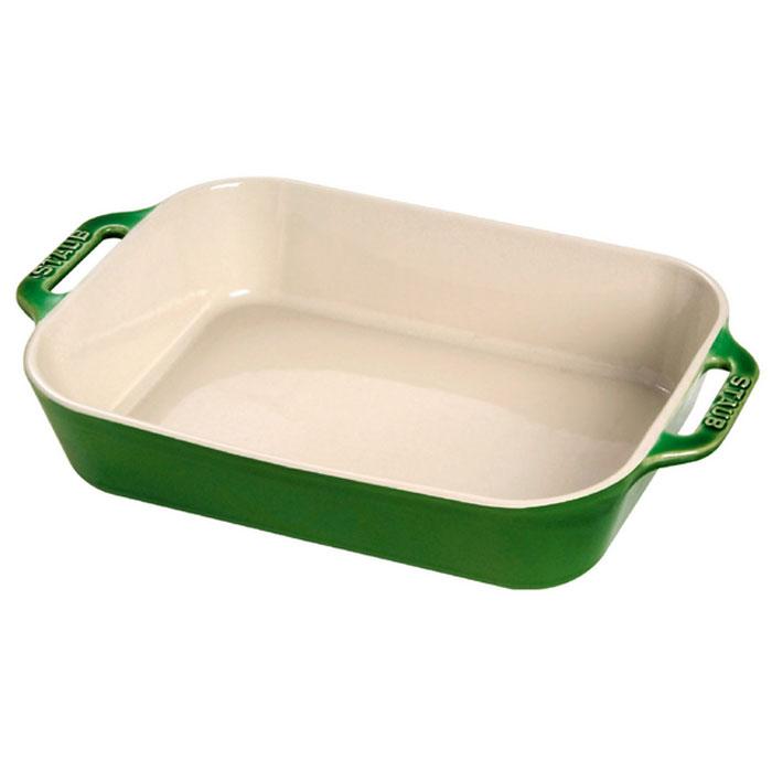 Форма прямоугольная керамическая Staub, цвет: зеленый базилик, 34 х 24 х 6,5 смFS-80418Прямоугольная форма Staub изготовлена из керамики, покрытой эмалью из стеклянного порошка. Не содержит свинца. Она отлично подойдет для приготовления и подачи на стол разнообразных запеканок, кексов и пирогов. Подходит для использования в духовке, гриле и микроволновой печи, может использоваться для сервировки. Нельзя использовать на открытом огне. Можно помещать в морозильную камеру, но не ставить керамическую посуду из морозильной камеры сразу в горячую духовку. Можно мыть в посудомоечной машине или вручную, используя губку. Сушить вверх дном. Максимальная и минимальная температура использования: +300°С/-20°С.