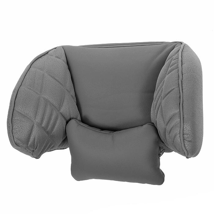 Подголовник универсальный Autoprofi Comfort, цвет: серый37059Подголовник универсальный Autoprofi Comfort предназначен для использования с любыми автомобильными креслами со съемными подголовниками. Легко фиксируется на штатном подголовнике при помощи текстильных строп с надежными защелками. Оснащен съемным шейным упором-подушкой и пластиковым каркасом для боковой поддержки головы. Характеристики: Материал: экокожа, полиэстер, пластик. Размер подголовника: 29 см х 15 см х 24 см. Размер упаковки: 29 см х 17 см х 21 см. Артикул: COM-0250HR D.GY/D.GY.