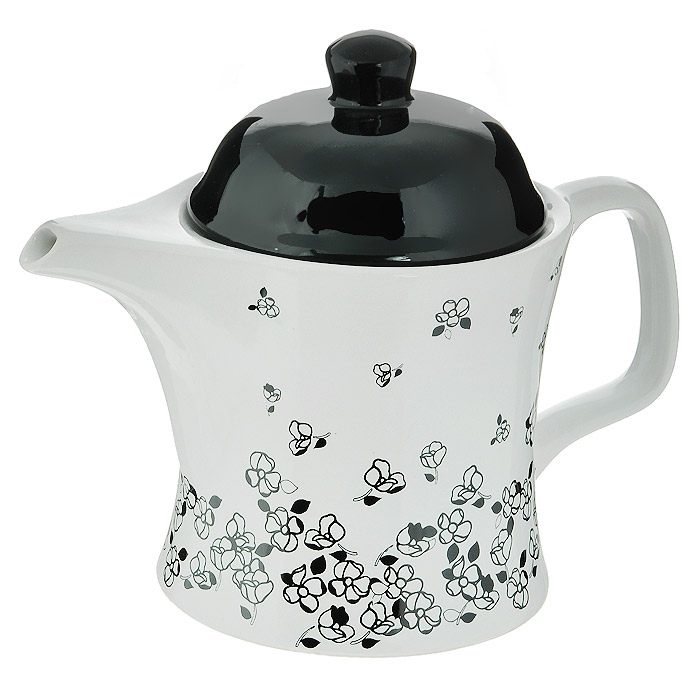Чайник заварочный House & Holder Черные цветы, цвет: черный, белый, 400 мл54 009312Заварочный чайник House & Holder Черные цветы изготовлен из высококачественной керамики белого цвета и оформлен изображением черных цветов. Крышка чайника - черного цвета. Контрастное оформление придется по вкусу и ценителям классики, и тем, кто предпочитает утонченность и изысканность. Такой чайник не только украсит ваш кухонный стол и подчеркнет прекрасный вкус хозяйки, но и станет отличным подарком. Характеристики: Материал: керамика. Цвет: черный, белый. Объем чайника: 400 мл. Диаметр чайника по верхнему краю: 9,5 см. Размер чайника (с учетом крышки) (Д х Ш х В): 16,5 см х 9,5 см х 14 см. Размер упаковки: 15,5 см х 10,5 см х 12,5 см. Артикул: DP-91-010258.