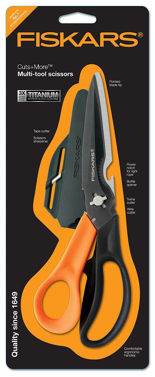 Ножницы многофункциональные Fiskars, для правшей, 23 смFS-54102Многофункциональные ножницы для правшей Fiskars включают в себя: удобную эргономичную ручку; кусачки; резак для шпагата; открывалку для бутылок; выемку для обрезания верёвки; шило; точилку для ножниц; нож для открывания коробок, закрытых клейкой лентой; лезвие с титановым покрытием.