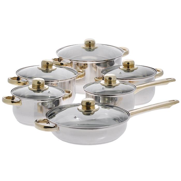 Набор посуды Bekker Classic, 12 предметов. BK-202115510Набор Bekker Classic состоит из 4 кастрюль с крышками, ковша с крышкой и сковороды с крышкой. Изделия изготовлены из высококачественной нержавеющей стали 18/10 с зеркальной полировкой. Посуда имеет капсулированное термическое дно - совершенно новая разработка, позволяющая приготавливать здоровую пищу. В дне посуды имеется полость, позволяющая избежать процесса деформации под воздействием высоких температур. Благодаря уникальной конструкции дна, тепло, проходя через металл, равномерно распределяется по стенкам посуды. В процессе приготовления пищи нижний слой дна остается идеально ровным, обеспечивая идеальный контакт между дном посуды и поверхностью плиты. Быстрая проводимость тепла и экономия энергии обеспечивается за счет использования при изготовлении дна разнородных материалов, таких как алюминий и сталь. Проходя через стальной нижний слой, тепло мгновенно попадает на алюминиевый слой, где и происходит его равномерное распределение. Внутри дна концентрируется очень высокая температура, которая практически мгновенно распределяется по все поверхности посуды. Для приготовления пищи в такой посуде требуется минимальное количество масла и воды, тем самым уменьшается риск потери витаминов и минералов в процессе термообработки продуктов. Специальный ободок по краям изделий предотвращает растекание жидкости при наполнении и переливании, что способствует сохранению чистоты стенок. Посуда оснащена удобными ненагревающимися металлическими ручками с золотистым покрытием. Крышки выполнены из жаростойкого прозрачного стекла, оснащены ручкой, металлическим ободом и отверстием для выпуска пара. Такая крышка позволяет следить за процессом приготовления пищи без потери тепла. Она плотно прилегает к краю и сохраняет аромат блюд. Предметы набора можно использовать на всех типах плит, кроме индукционных. Можно мыть в посудомоечной машине. Характеристики: Материал: нержавеющая сталь 18/10, стекло. Объем кастрюль: 1,6 л, 2,4 л, 3,