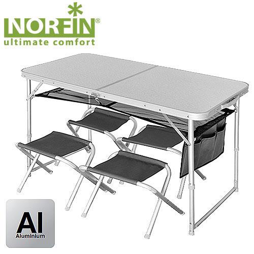 Набор складной мебели Norfin Runn, 5 предметовNF-20310Набор из складного стола и четырех стульев. Стулья складываются и убираются вовнутрь стола, который в собранном виде имеет форму чемодана. Размер в сложенном виде: 60 см x 60 см x 8 см.Максимальная нагрузка: 30 кг для стола, 90 кг для стульев.Каркас: алюминий 25х22 мм, MDF, 600D polyester.