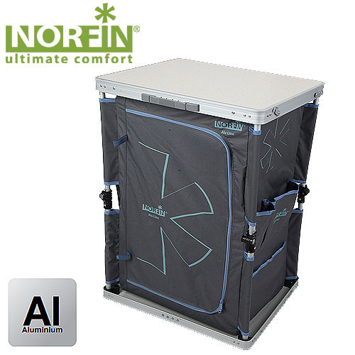 Стол-шкаф складной Norfin Rore NFLNFL-20401Складной шкафчик Norfin Rore NFL с полками. Сетчатая задняя стенка для вентиляции. Моментально раскладывается и складывается в мини-чемодан. Характеристики: Материал: алюминий, полиэстер. Размер стола: 48 см х 60 см х 80 см. Размер стола в сложенном виде: 62 см х 10 см х 51 см. Максимальная нагрузка: 30 кг.