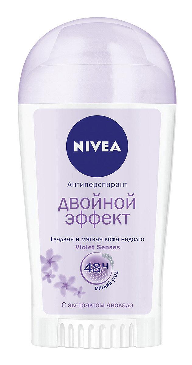 NIVEA Антиперспирант стик Двойной Эффект 40 мл26102025Дезодорант Nivea Двойной Эффект Violet Senses с экстрактом авокадо обеспечит надежную защиту от пота на 48 часов. Способствует чистому бритью. Гладкая и мягкая кожа надолго.Не содержит красителей и консервантов. Характеристики:Объем: 40 мл. Производитель: Германия. Артикул: 83765. Товар сертифицирован.
