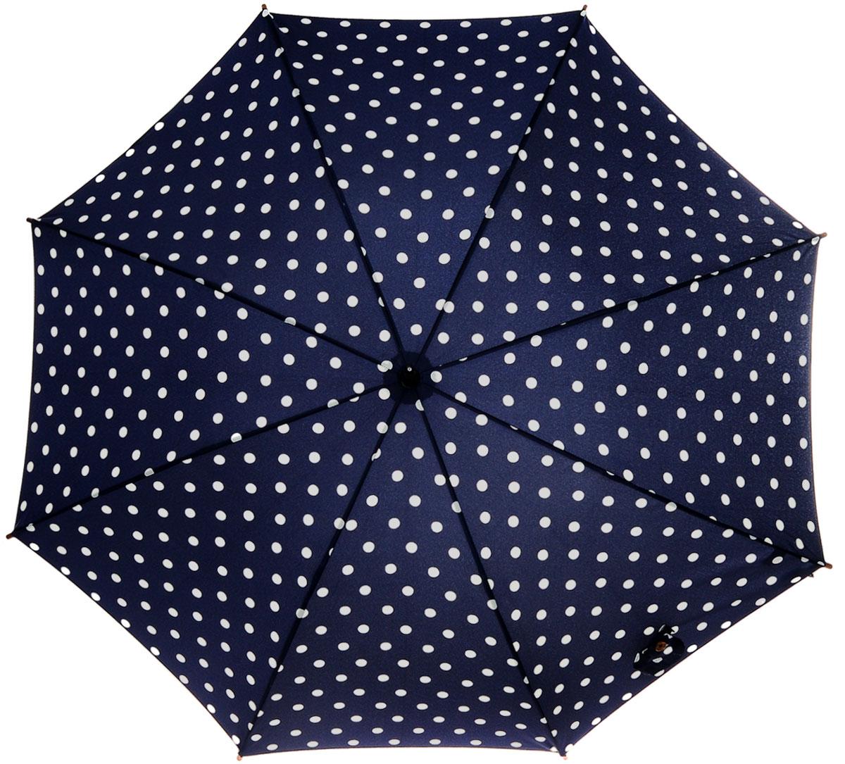 Зонт-трость женский Spot Navy, механический, цвет: синий, белыйREM12-CAM-GREENBLACKСтильный механический зонт-трость Spot Navy даже в ненастную погоду позволит вам оставаться элегантной. Облегченный каркас зонта выполнен из 8 спиц из фибергласса, стержень изготовлен из дерева. Купол зонта выполнен из прочного полиэстера и оформлен принтом в горошек. Рукоятка закругленной формы разработана с учетом требований эргономики и выполнена из дерева. Зонт имеет механический тип сложения: купол открывается и закрывается вручную до характерного щелчка.Такой зонт не только надежно защитит вас от дождя, но и станет стильным аксессуаром. Характеристики:Материал: полиэстер, фибергласс, дерево. Диаметр купола: 100 см.Цвет: синий, белый. Длина стержня зонта: 76 см. Длина зонта (в сложенном виде): 88 см.Вес: 375 г. Артикул: L541 3F2654.