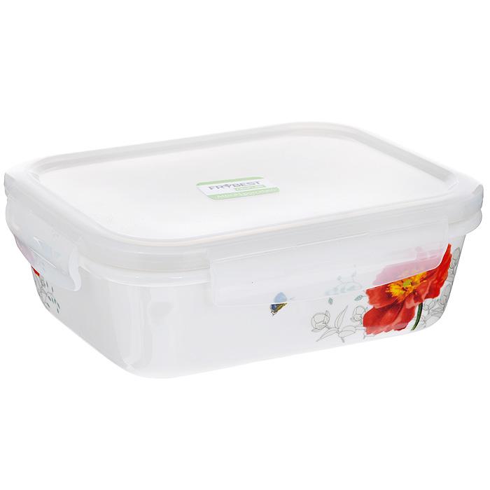 Контейнер для продуктов Frybest фарфоровый, прямоугольный, 630 млД Дачно-Деревенский 20Прямоугольный контейнер для продуктов Frybest выполнен из высококачественного фарфора белого цвета и украшен цветочным рисунком. Контейнер оснащен удобной крышкой из прозрачного пластика, которая плотно закрывается на 4 защелки. Основные преимущества: - экологичность (не содержит вредных и ядовитых материалов); - герметичность (превосходная герметичность позволяет сохранить свежесть продуктов); - чистота и гигиеничность (цвет материала не блекнет со временем, покрытие не впитывает запах); - утонченный европейский дизайн (прекрасное украшение стола); - удобство использования (подходит для мытья в посудомоечной машине, хранения в холодильной и морозильной камере). Характеристики:Материал: пластик, фарфор. Объем: 630 мл. Размер контейнера: 12,5 см х 16,5 см. Высота (без учета крышки): 5 см. Высота (с учетом крышки): 6 см. Размер упаковки: 19,5 см х 14,5 см х 6,5 см. Артикул: MAK-063.
