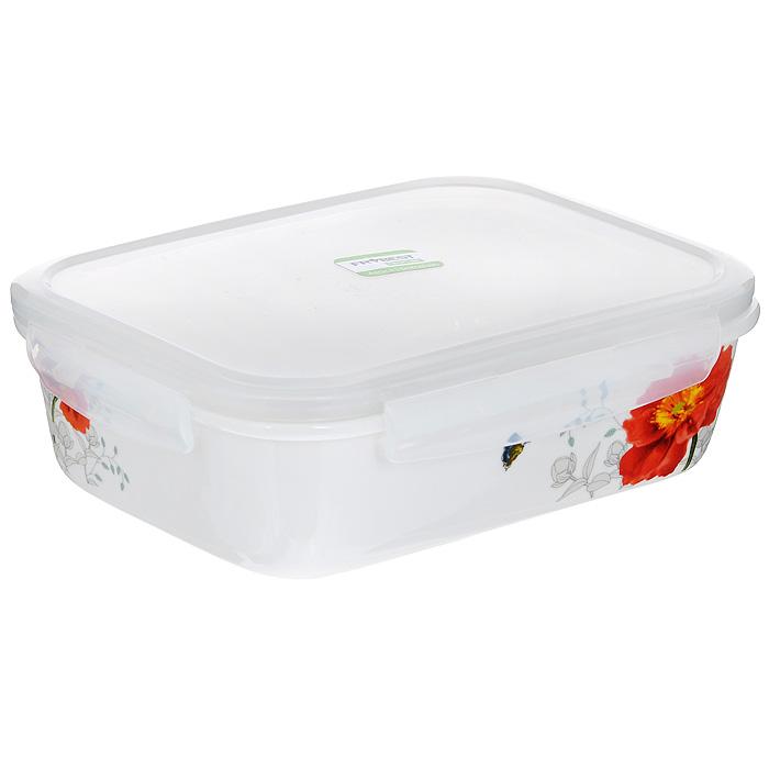 Контейнер для продуктов Frybest фарфоровый, прямоугольный, 920 млFD-59Прямоугольный контейнер для продуктов Frybest выполнен из высококачественного фарфора белого цвета и украшен цветочным рисунком. Контейнер оснащен удобной крышкой из прозрачного пластика, которая плотно закрывается на 4 защелки. Основные преимущества: - экологичность (не содержит вредных и ядовитых материалов); - герметичность (превосходная герметичность позволяет сохранить свежесть продуктов); - чистота и гигиеничность (цвет материала не блекнет со временем, покрытие не впитывает запах); - утонченный европейский дизайн (прекрасное украшение стола); - удобство использования (подходит для мытья в посудомоечной машине, хранения в холодильной и морозильной камере). Характеристики:Материал: пластик, фарфор. Объем: 920 мл. Размер контейнера: 19,5 см х 14,5 см. Высота (без учета крышки): 5,5 см. Высота (с учетом крышки): 7 см. Размер упаковки: 22 см х 16,5 см х 7 см. Артикул: MAK-092.