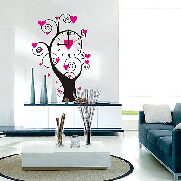 Настенные декоративные часы-стикеры Perfecto Дерево. GLM-T006300074_ежевикаНастенные декоративные часы-стикеры Дерево добавят в интерьер вашего дома оригинальности. Часы представляют собой стикер, выполненный из винила - тонкого эластичного материала, который хорошо прилегает к любым гладким и чистым поверхностям, легко моется и долго держится, после удаления не оставляет следов. Циферблат выполнен из плотного картона и имеет три стрелки - часовую, минутную и секундную, клеится к поверхности также при помощи стикера. Такие часы станут интересным дизайнерским решением не только спальни, гостиной или детской, но также и офиса. Характеристики: Материал: винил, пластик, картон. Цвет: черный, розовый. Диаметр циферблата: 9,5 см. Размер упаковки: 18,5 см х 32 см х 4 см. Артикул: GLM-T006. Рекомендуется докупить одну батарейку типа АА, в комплект не входит.