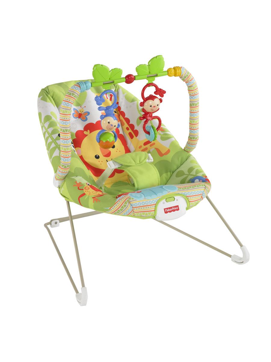 """Легкое и удобное кресло-кокон Fisher-Price """"Друзья из тропического леса"""" предназначено для детей с рождения до 9 кг. У кресла включаются вибрации, которые помогут малышу успокоиться. Убаюкивающие покачивания и глубокое удобное сиденье делают данное приспособление идеальным как для мамы, так и для малыша. Малыш фиксируется в кресле при помощи мягкого трехточечного ремня безопасности. Кресло оснащено устойчивыми не скользящими ножками. Кресло-кокон оснащено съемной перекладиной, на которой крепятся две подвесные обезьянки-погремушки. В таком кресле вашему малышу будет максимально комфортно и безопасно. Рекомендуется докупить 1 батарею напряжением 1,5V типа D (не входит в комплект)."""
