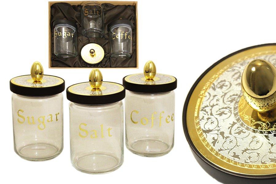Набор из 3-х банок для сыпучих продуктов Dubai Gold/SilverVT-1520(SR)Материал: Нержавеющая сталь. Цвет: серебряный, золотой. Серия: Dubai. Размер товара: 12х12х16. Размер упаковки: 43х38х14.