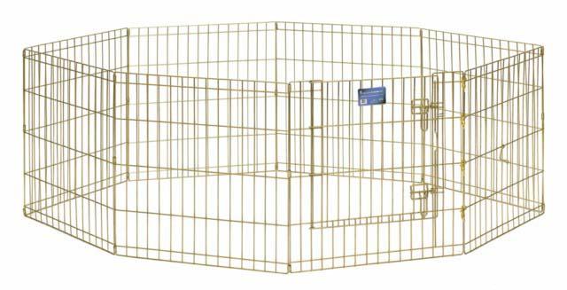 Вольер для животных Midwest, цвет: золотой, 61 см х 61 см725жкССКомфортный вольер Midwest для животных с 8 панелями - это лучший выбор для тех, кто заботится об уюте и безопасности своего питомца. Дверь вольера оснащена крепким двойным замком, что исключает случайное открытие. В комплект также входят угловые усилители, которые поддерживают конфигурацию ограждения и добавляют конструкции вес, чтобы животное не могло ее перевернуть. Специальное акриловое покрытие Acri-Lock золотистым цинком, нанесенное на вольер, продляет срок эксплуатации клетки. Вольер легко переносится и просто складывается для удобного хранения, не требуется никаких инструментов или дополнительных деталей.Размер одной секции (ШхВ): 61 см х 61 см. Вес конструкции: 9,5 кг.Товар сертифицирован.