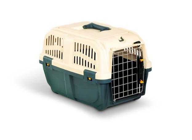 Переноска для животных MPS  Skudo 1 , с металлической дверцей и замком, цвет: темно-серый, бежевый, 48 см х 31,5 см х 31 см - Переноски, товары для транспортировки