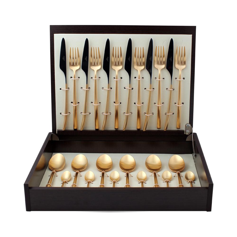 Набор столовых приборов Mezzo Gold мат. набор 24 предмета 930292919302 MEZZO GOLD мат. Набор 24 пр. Характеристики: Материал: сталь.Размер: 405*295*65мм.Артикул: 9302.