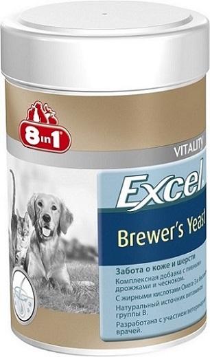 Добавка 8 in 1 Excel. Brewers Yeast, для кошек и собак, 260 таблеток01207108 in 1 Excel. Brewers Yeast - комплексная добавка, содержащая пивные дрожжи и чеснок,богата витаминами группы В, жиром ценных пород рыб (источник жирных кислот Омега-3).Специальный баланс витаминов и микроэлементов способствует поддержанию здоровойкожи и блестящей шерсти, стимуляции иммунной системы, улучшения аппетита,профилактики заболеваний печени у собак и кошек.Применение:Добавку давать собакам (кошкам) ежедневно по 1 таблетке на каждые 4 кг веса животного(перед едой или вместе с кормом). Рекомендуемый курс применения 14-30 дней. Изменениядозировки или повторный курс по показаниям.Состав: пивные дрожжи (Saccharomyces cerevisiae), стеариновая кислота, глицерин, чеснок, сафлоровое масло, диоксид кремния, масло тунца. Не содержит искусственных консервантов и красителей.Пищевая ценность: сырой белок - 43%, сырой жир - 7%, сырая клетчатка - 1%, зола - 9%, влага - 8%.Витамины: витамин В1 800 мг/кг, витамин В2 500 мг/кг, витамин В6 50 мг/кг, биотин 1900 мг/кг, ниацин 1200 мг/кг.Микроэлементы: железо 1914 мг/кг, медь 2,5 мг/кг, марганец 323 мг/кг, цинк 3270 мг/кг, кобальт 114 мг/кг.Товар сертифицирован.