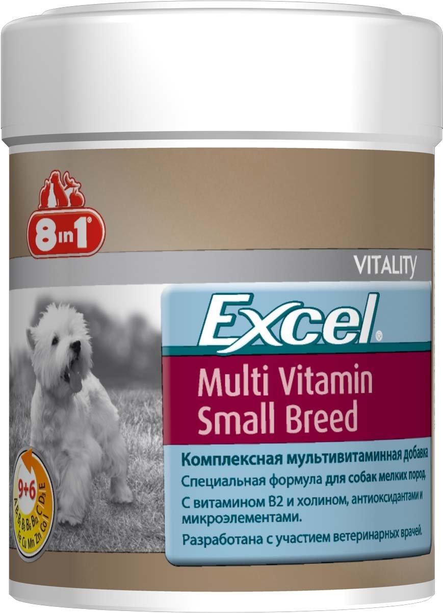 Добавка 8 in 1 Excel. Multi Vitamin, для собак мелких пород, 70 таблеток109372Мультивитаминная добавка для собак мелких пород 8 in 1 Excel. Multi Vitamin содержит витамины В2 и В 4 (холин), жир ценных пород рыб (источник жирных кислот Омега-3) и микроэлементы. Специальная формула обеспечивает идеальный баланс минеральных веществ и витаминов, необходимых для поддержания активного образа жизни собак мелких пород. Комплекс восполняет недостаток витаминов и минералов в питании животного. Он рекомендован собакам в зимние и весенние месяцы для профилактики авитаминоза. При несбалансированном питании (со стола или дешевыми кормами) необходимо давать препарат ежедневно для восстановления обмена веществ.Применение:Добавку давать собакам, весом менее 4 кг - по 0,5 таблетки в день, от 4 до 10 кг - по 1 таблетке в день (перед кормлением). Больным, выздоравливающим, беременным и кормящим собакам давать по 2 таблетки в день. Рекомендуемый курс применения 14-30 дней. Изменения дозировки или повторный курс по показаниям.Состав: пивные дрожжи (Saccharomyces cerevisiae), дикальцифосфат дигидрат, мука из зародышей пшеницы, рыбная мука, лактоза, стеариновая кислота, глицерин, сафлоровое масло, натрия хлорид, диоксид кремния, сухое обезжиренное молоко, сухая молочная сыворотка. Не содержит искусственных консервантов и красителей.Пищевая ценность: сырой белок - 25%, сырой жир - 7%, сырая клетчатка - 0,5%, зола - 25%, влага - 8%.Витамины: витамин А 670000 МЕ/кг, витамин D3 81000 МЕ/кг, витамин Е 1400 мг/кг, витамин В1 570 мг/кг, витамин В2 600 мг/кг, витамин В6 70 мг/кг, витамин В12 120 мг/кг, витамин С 3000 мг/кг, никотинамид 7500 мг/кг, биотин 15000 мг/кг, пантотеновая кислота 110 мг/кг, фолиевая кислота 100 мг/кг, холин 1500 мг/кг.Микроэлементы: железо 1353 мг/кг, медь 42 мг/кг, марганец 74 мг/кг, цинк 1836 мг/кг, кобальт 13 мг/кг, йод 43 мг/кг.Количество таблеток: 70 шт.Товар сертифицирован.