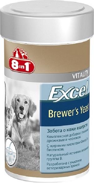 Добавка 8 in 1 Excel. Brewers Yeast, для кошек и собак, 140 таблеток1094958 in 1 Excel. Brewers Yeast - комплексная добавка, содержащая пивные дрожжи и чеснок, богата витаминами группы В, жиром ценных пород рыб (источник жирных кислот Омега-3). Специальный баланс витаминов и микроэлементов способствует поддержанию здоровой кожи и блестящей шерсти, стимуляции иммунной системы, улучшения аппетита, профилактики заболеваний печени у собак и кошек.Применение:Добавку давать собакам (кошкам) ежедневно по 1 таблетке на каждые 4 кг веса животного (перед едой или вместе с кормом). Рекомендуемый курс применения 14-30 дней. Изменения дозировки или повторный курс по показаниям.Состав: пивные дрожжи (Saccharomyces cerevisiae), стеариновая кислота, глицерин, чеснок, сафлоровое масло, диоксид кремния, масло тунца. Не содержит искусственных консервантов и красителей.Пищевая ценность: сырой белок - 43%, сырой жир - 7%, сырая клетчатка - 1%, зола - 9%, влага - 8%.Витамины: витамин В1 800 мг/кг, витамин В2 500 мг/кг, витамин В6 50 мг/кг, биотин 1900 мг/кг, ниацин 1200 мг/кг.Микроэлементы: железо 1914 мг/кг, медь 2,5 мг/кг, марганец 323 мг/кг, цинк 3270 мг/кг, кобальт 114 мг/кг.Количество таблеток: 140 шт.Товар сертифицирован.