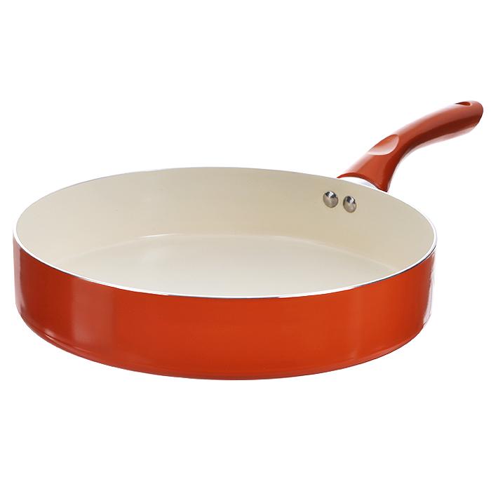 Сковорода Mayer & Boch, с керамическим покрытием, цвет: оранжевый. Диаметр 28 см. 22263Jbze-128-11Сковорода Mayer & Boch изготовлена из алюминия с высококачественным антипригарным керамическим покрытием. Керамика не содержит вредных примесей ПФОК, что способствует здоровому и экологичному приготовлению пищи. Кроме того, с таким покрытием пища не пригорает и не прилипает к стенкам, поэтому можно готовить с минимальным добавлением масла и жиров. Гладкая, идеально ровная поверхность сковороды легко чистится, ее можно мыть в воде руками или вытирать полотенцем. Эргономичная ручка специального дизайна выполнена из бакелита.Сковорода подходит для использования на газовых и электрических плитах. Также изделие можно мыть в посудомоечной машине.Диаметр: 28 см.Высота стенки: 6 см.Длина ручки: 18 см.