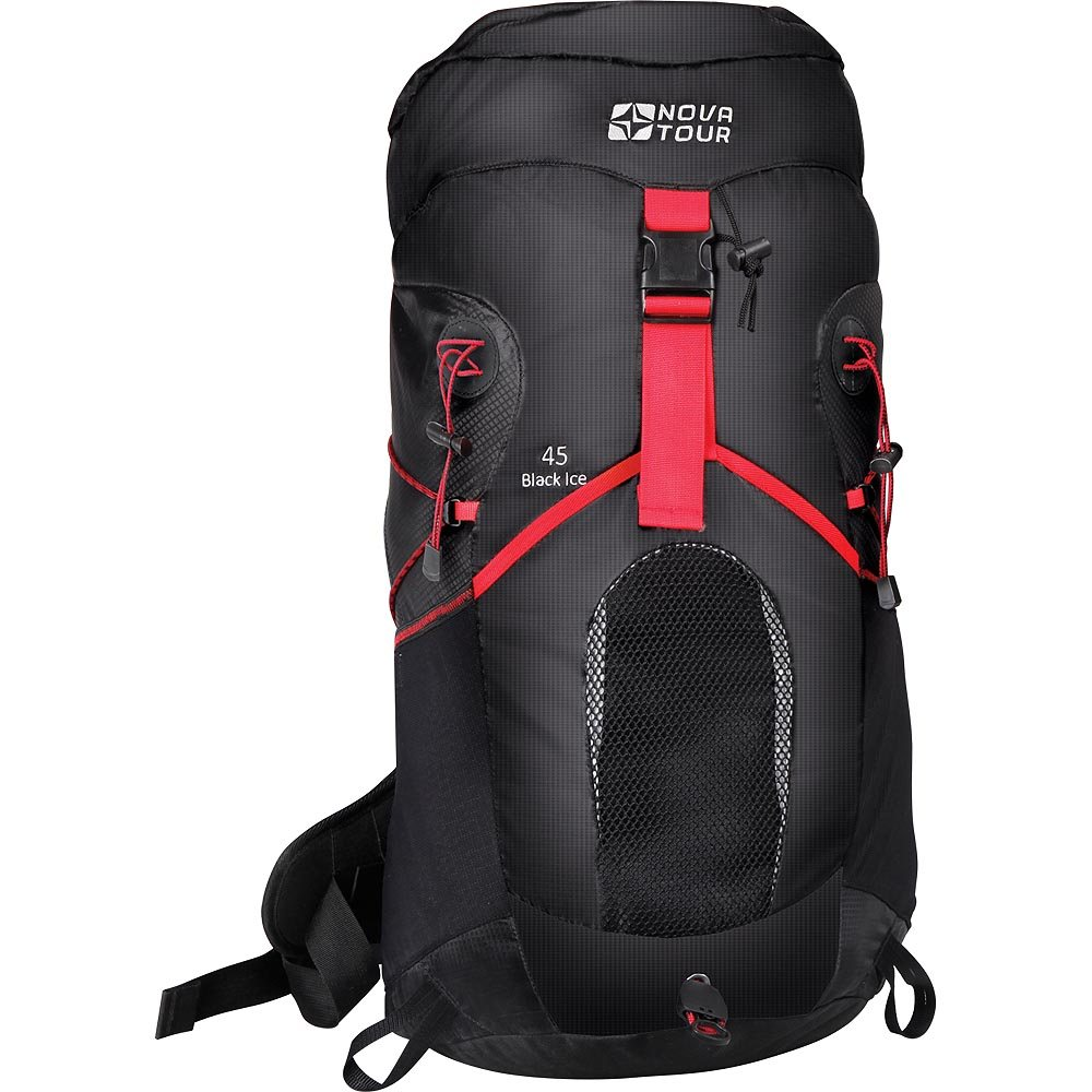 Рюкзак туристический Nova Tour Блэк Айс 45, цвет: черный, красный12362-956-00Вас приятно удивит инновационная система утяжки объема этого современного стильного рюкзака из легкой нейлоновой ткани. Максимально комфортную вентиляцию гарантирует подвесная система Air Flow, обеспечивающая пространство между рюкзаком и спиной. Необходимые в переходах вещи легко укладываются в эластичный карман на фасаде рюкзака. Если захотелось попить, это можно сделать не останавливаясь, ведь в рюкзаке нашлось отделение и для питьевой системы. Любителей ходить с треккинговыми палками несомненно порадует наличие крепления для этого инвентаря. На концах боковых стяжек имеются липучки для закрепления излишков стропы. Характеристики:Материал: Poly Oxford 300D Ripstop, фурнитура PVC. Размер рюкзака: 63 см х 38 см х 22 см. Объем: 45 л. Размер упаковки: 60 см х 40 см х 30 см. Артикул: 12362-956-00.