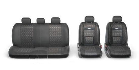 Набор авточехлов Autoprofi Comfort, ортопедическая поддержка, цвет: черный, 11 предметов. Размер M. COM-1105GP BK/BK (M)R-802 D.GYВ качестве внешнего материала в чехлах Comfort GP применяется 3D полиэстер под кожу и экокожа - материал, приятный на ощупь, практически неотличимый от настоящий кожи, не горючий и легкомоющийся. Широкая гамма расцветок чехлов позволяет подобрать их практически к любому салону автомобиля. Анатомическое авточехлы Comfort имеют встроенный поясничный упор, плечевую и боковую поддержку. Посадка водителя и пассажира с этими чехлами становится естественной и удобной, позволяя с легкостью преодолевать большие расстояния.Основные характеристики: - Карманы в спинках передних сидений - 3 молнии в сиденье заднего ряда- 3 молнии в спинке заднего ряда- Предустановленные крючки на широких резинках- Поддержка плечевого пояса- Ортопедический поясничный упор- Боковая поддержка спины- Толщина поролона: 5 мм Комплектация: - 1 сиденье заднего ряда; - 1 спинка заднего ряда; - 2 спинки переднего ряда; - 2 сиденья переднего ряда; - 5 подголовников.