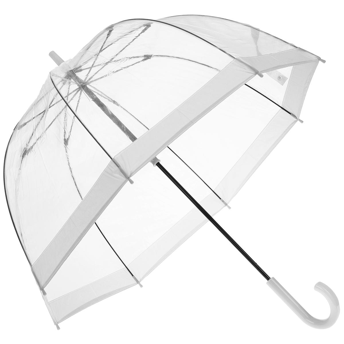 Зонт-трость женский Bird cage, механический, цвет: прозрачный, белыйREM12-CAM-REDBLACKСтильный куполообразный зонт-трость Bird cage, закрывающий голову и плечи, даже в ненастную погоду позволит вам оставаться элегантной. Каркас зонта выполнен из 8 спиц из фибергласса, стержень изготовлен из стали. Купол зонта выполнен из прозрачного ПВХ. Рукоятка закругленной формы разработана с учетом требований эргономики и изготовлена из пластика. Зонт имеет механический тип сложения: купол открывается и закрывается вручную до характерного щелчка.Такой зонт не только надежно защитит вас от дождя, но и станет стильным аксессуаром. Характеристики:Материал: ПВХ, сталь, фибергласс, пластик. Диаметр купола: 89 см.Цвет: прозрачный, белый. Длина стержня зонта: 84 см. Длина зонта (в сложенном виде): 94 см.Вес: 540 г.Артикул:L041 3F002.
