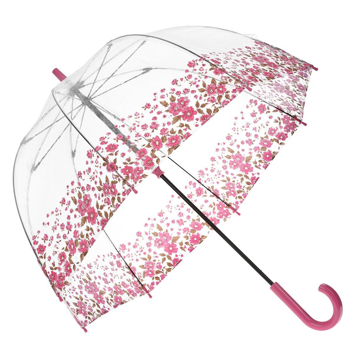 Зонт-трость женский Floral Border, механический, цвет: розовыйREM12-GREYСтильный куполообразный зонт-трость Floral Border, закрывающий голову и плечи, даже в ненастную погоду позволит вам оставаться элегантной. Каркас зонта выполнен из 8 спиц из фибергласса, стержень изготовлен из стали. Купол зонта выполнен из прозрачного ПВХ и оформлен цветочным узором. Рукоятка закругленной формы разработана с учетом требований эргономики и изготовлена из пластика. Зонт имеет механический тип сложения: купол открывается и закрывается вручную до характерного щелчка.Такой зонт не только надежно защитит вас от дождя, но и станет стильным аксессуаром. Характеристики:Материал: ПВХ, сталь, фибергласс, пластик. Диаметр купола: 89 см.Цвет: розовый. Длина стержня зонта: 84 см. Длина зонта (в сложенном виде): 94 см.Вес: 540 г. Артикул:L042 3F2643.