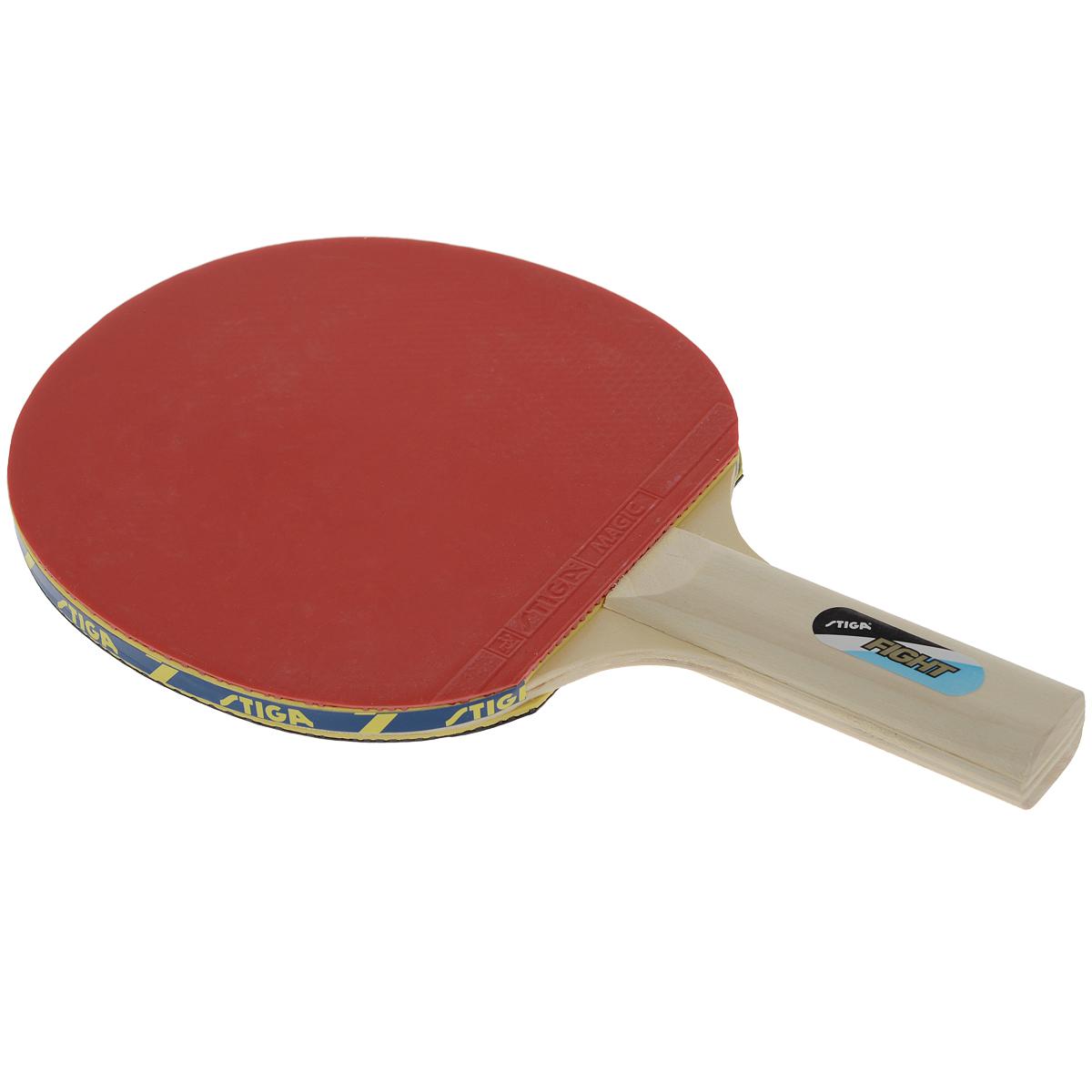Ракетка для настольного тенниса Stiga Fight3B327Ракетка для настольного тенниса Stiga Fight – прекрасный выбор для любителя. Пятислойное основание в тандеме с накладкой Magic 1,5 мм дает возможность игроку получить 100% чувство мяча, благодаря которому он сможет заложить основу для развития своего мастерства.Основные характеристики: Контроль: 100. Скорость: 15. Кручение: 30. Характеристики: Размер ракетки: 25,5 см х 15,3 см. Длина ручки: 10 см. Материал: дерево, резина. Размер упаковки: 25,5 см х 15,3 см х 2 см. Производитель: Китай. Артикул: 24928.