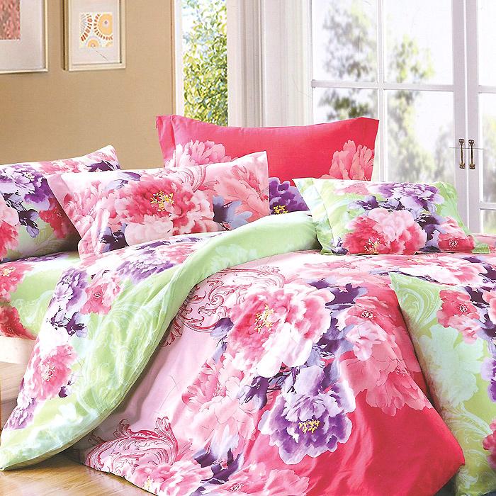 Постельное белье Матильда (1,5 спальный КПБ, сатин, наволочки 70х70), цвет: розовый, зеленый391602Комплект постельного белья Матильда является экологически безопасным для всей семьи, так как выполнен из натурального хлопка. Комплект состоит из пододеяльника, простыни и двух наволочек. Постельное белье оформлено оригинальным ярким рисунком и имеет изысканный внешний вид.Сатин - производится из высших сортов хлопка, а своим блеском, легкостью и на ощупь напоминает шелк. Такая ткань рассчитана на 200 стирок и более. Постельное белье из сатина превращает жаркие летние ночи в прохладные и освежающие, а холодные зимние - в теплые и согревающие. Благодаря натуральному хлопку, комплект постельного белья из сатина приобретает способность пропускать воздух, давая возможность телу дышать. Одно из преимуществ материала в том, что он практически не мнется и ваша спальня всегда будет аккуратной и нарядной. Характеристики: Страна: Россия. Материал: сатин (100% хлопок). В комплект входят: Пододеяльник - 1 шт. Размер: 143 см х 210 см. Простыня - 1 шт. Размер: 150 см х 230 см. Наволочка - 2 шт. Размер: 70 см х 70 см. Высокие свойства белья торговой марки Коллекция основаны на умелом использовании вековых традиций и современных технологий производства и обработки тканей. Качество исходных материалов, внимание к деталям отделки, отличный пошив, воплощение новейших тенденций мировой моды позволяют постельному белью гармонично влиться в современное жизненное пространство и подарить ощущения удовольствия и комфорта.