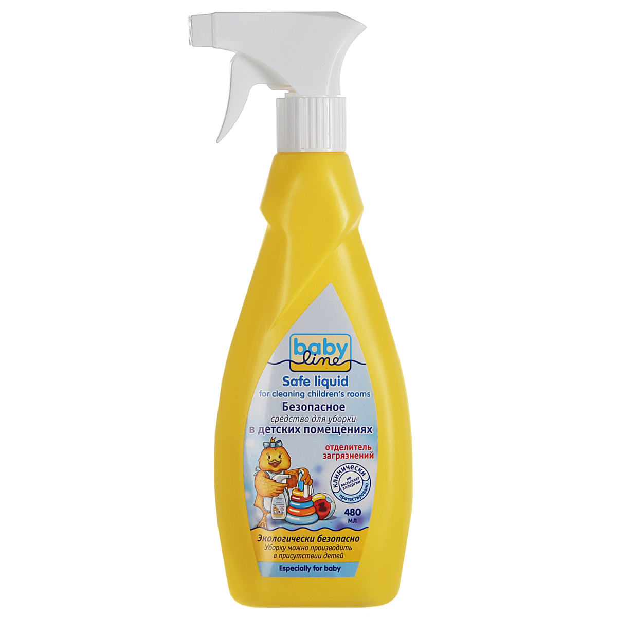 BabyLine Безопасное средство для уборки детских помещений, 480 мл68/5/1Эффективное чистяще-моющее средство BabyLine предназначено для уборки в помещениях, где находятся дети и, особенно, аллергики. Эффективно удаляет органические загрязнения от молока, фруктовых и овощных пюре, соков, а также мочи, кала, следы от фломастера, карандаша, наклеек, скотча и другую грязь. Подходит для чистки предметов из любых материалов: дерева, кожи, кожзаменителя, тканей, пластика, линолеума и пр. Не имеет цвета и запаха. Не раздражает кожные покровы и дыхательные пути. Не содержит спирта, хлора, диоксидов. Продукт биоразлагаем, не наносит вреда окружающей среде. Характеристики:Объем: 480 мл. Артикул: 18273255. Изготовитель: Бельгия. Товар сертифицирован.