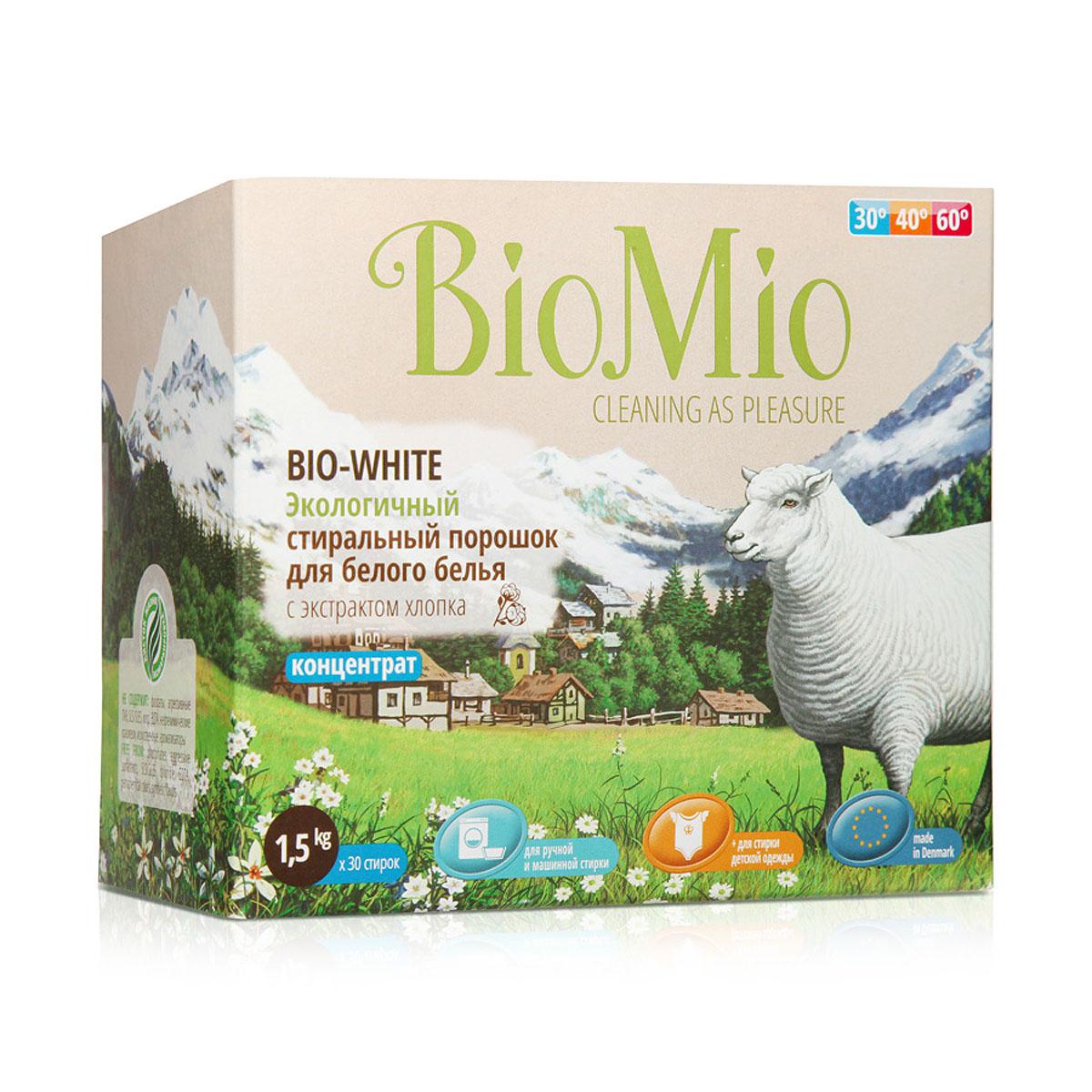 """Экологичный стиральный порошок """"BioMio"""" эффективно удаляет пятна и загрязнения, не повреждая волокна ткани. Подходит для ручной и машинной стирки. Концентрированная формула обеспечивает экономичный расход. Идеально подходит для стирки детского белья и одежды людей с чувствительной кожей. Полностью выполаскивается, исключает попадание на кожу моющих средств, способных вызывать раздражение чувствительной кожи. Средство без запаха не содержит эфирных масел, что делает его абсолютно безопасным для детской одежды. Не содержит вредных светоотражающих частиц, которые создают иллюзию чистоты и белизны. Безопасен для планеты. Не содержит: фосфаты, агрессивные ПАВ, SLS/SLES, хлор, EDTA, нефтехимические красители, искусственные ароматизаторы  """"BioMio"""" - линейка эффективных средств для дома, использование которых приносит   только удовольствие. Уборка помогает не только очистить и гармонизировать свое   пространство, но и себя, свои мысли, поэтому важно ее делать с радостью.   Средства, созданные с любовью и заботой, помогут в этом и идеально справятся с   загрязнениями, оставаясь при этом абсолютно безопасными и экологичными.   Средства """"BioMio"""" незаменимы, если в доме есть ребенок.   Характеристики:Состав: 15-30% кислородный отбеливатель; 5-15% цеолиты, неионогенные ПАВ; Вес: 1,5 кг. Товар сертифицирован."""