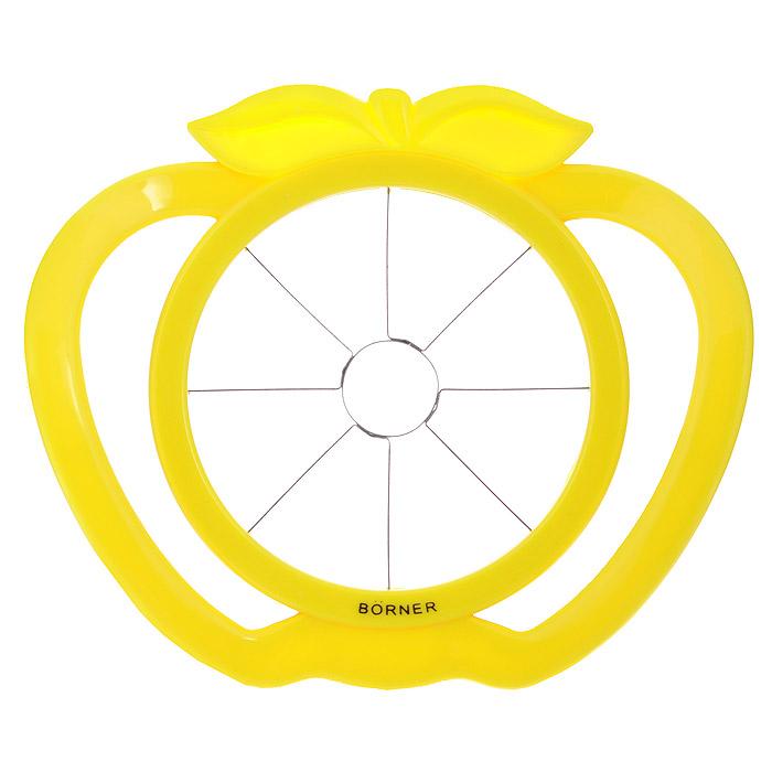 Яблокорезка Borner, цвет: желтый810013Яблокорезка Borner идеально подойдет для приготовления фруктовой нарезки за считанные секунды. Лезвия, изготовленные из нержавеющей стали, разделяют фрукты на ровные, одинаковые кусочки с уже вырезанной сердцевиной. Эргономичные ручки, выполненные из высококачественного пластика, обеспечат легкий и удобный захват.Яблокорезка Borner станет прекрасным дополнением к коллекции ваших кухонных аксессуаров. Размер изделия: 17 см х 15 с х 4 см. Диаметр рабочей поверхности: 10 см.