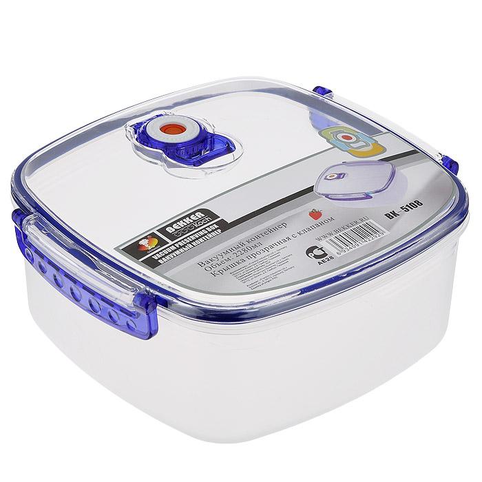 Контейнер пищевой вакуумный Bekker, квадратный, 2,28 лVT-1520(SR)Квадратный вакуумный контейнер для хранения продуктов Bekker изготовлен из прочного пищевого пластика. Для более надежного крепления и сохранения герметичности на крышке имеются удобные защелки. Также крышка оснащена календариком для выставления даты или определения срока годности. Для создания вакуума необходимо плотно закрыть контейнер, защелкнув боковые ручки и клапан на крышке контейнера, и надавить на крышку. Контейнер пригоден для использования в микроволновой печи и для хранения в морозильной камере. Вакуумный контейнер Bekker поможет сохранить продукты свежими в течение долгого времени! Характеристики:Материал: пластик. Размер контейнера с учетом крышки: 21 см х 20 см х 9,5 см. Объем контейнера: 2,28 л. Артикул: BK-5108.