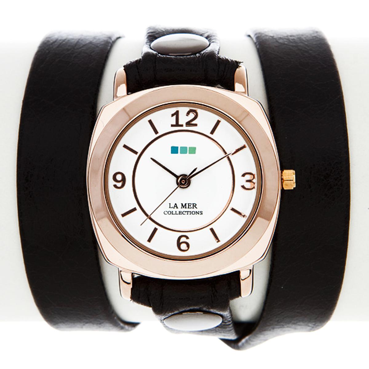Часы женские наручные La Mer Collections Odyssey Black/Gold. LMODY004BM8434-58AEЖенские наручные часы Odessey Black/Gold позволят вам выделиться из толпы и подчеркнуть свою индивидуальность. Часы оснащены японским кварцевым механизмом SEIKO. Ремешок выполнен из натуральной итальянской кожи с матовой поверхностью и оформлен металлическими заклепками. Корпус часов изготовлен из сплава металлов золотистого цвета. Циферблат оснащен часовой, минутной и секундной стрелками и защищен минеральным стеклом. Циферблат оформлен арабскими цифрами и отметками. Часы застегиваются на классическую застежку.Часы хранятся на специальной подушечке в футляре из искусственной кожи, крышка которого оформлена логотипом компании La Mer Collection. Характеристики:Механизм: кварцевый SEIKO (Япония).Размер корпуса: 29 х 29 х 8 мм. Материал корпуса: сплав металлов. Стекло: минеральное. Ремешок: Итальянская натуральная кожа. Размер ремешка: 55 х 1,3 см.Гарантия: 1 год. Размер упаковки: 10 см x 10 см x 6,5 см.