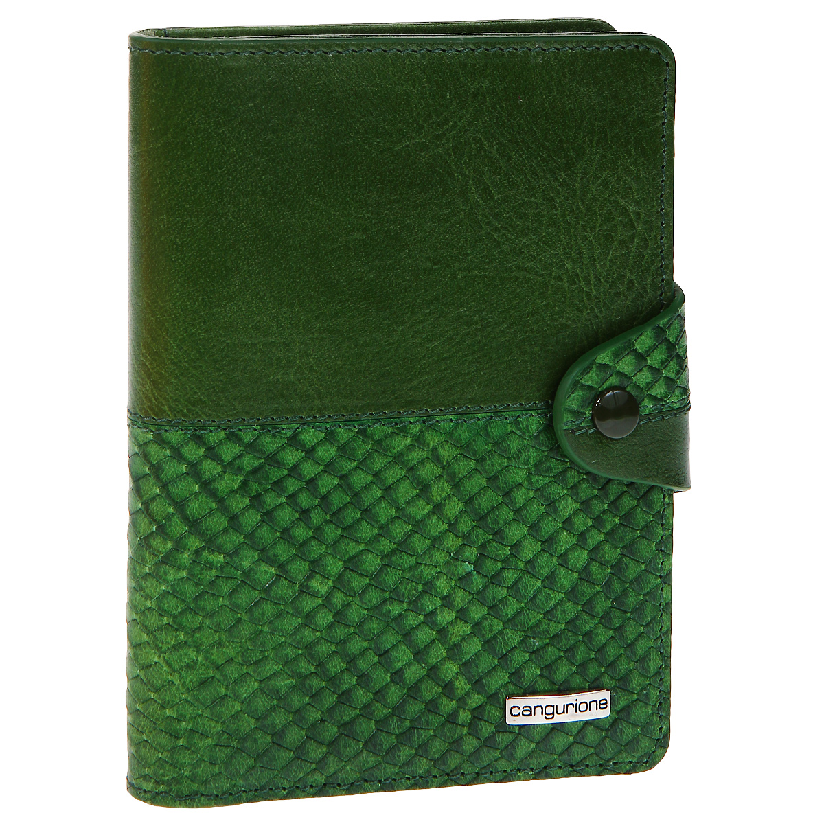 Обложка для автодокументов Cangurione, цвет: зеленый. 3341-009 DP-ANC366Обложка для автодокументов Cangurione выполнена из натуральной кожи зеленого цвета с декоративным тиснением под крокодила. На внутреннем развороте - 4 кармашка для пластиковых и кредитных карт, потайное отделение, окошко для фотографии и два кармашка для документов. Обложка закрывается при помощи хлястика на кнопку. Обложка не только поможет сохранить внешний вид ваших документов и защитит их от повреждений, но и станет стильным аксессуаром, который подчеркнет ваш неповторимый стиль. Обложка упакована в коробку из плотного картона с логотипом фирмы. Характеристики:Материал: натуральная кожа, металл. Цвет: зеленый. Размер обложки: 10 см х 13,5 см х 1,5 см. Размер упаковки: 11,5 см х 15,5 см х 2 см. Артикул: 3341-009 DP-ANC/Green.