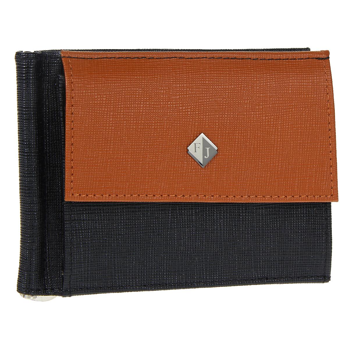 Зажим для купюр Flioraj, цвет: черный, рыжий. 1527-05/04/FINT-06501Зажим для купюр Flioraj выполнен из натуральной кожи черного цвета с отделкой из кожи рыжего цвета. На лицевой стороне зажима находится небольшой карман для мелочи, закрывающийся на кнопку. Внутри имеется отодвигающийся металлический зажим и два сетчатых кармана. Зажим для купюр закрывается на кнопку.Зажим упакован в подарочную упаковку из плотного картона. Зажим для купюр Flioraj станет отличным подарком человеку, ценящему практичные и стильные вещи, а качество его исполнения представит такой подарок в самом выгодном свете. Характеристики: Материал: натуральная кожа, металл. Размер в сложенном виде: 12 см х 9 см х 1 см. Цвет: черный, рыжий. Размер упаковки:16,5 см х 15 см х 4 см. Артикул: 1527-05/04/F.