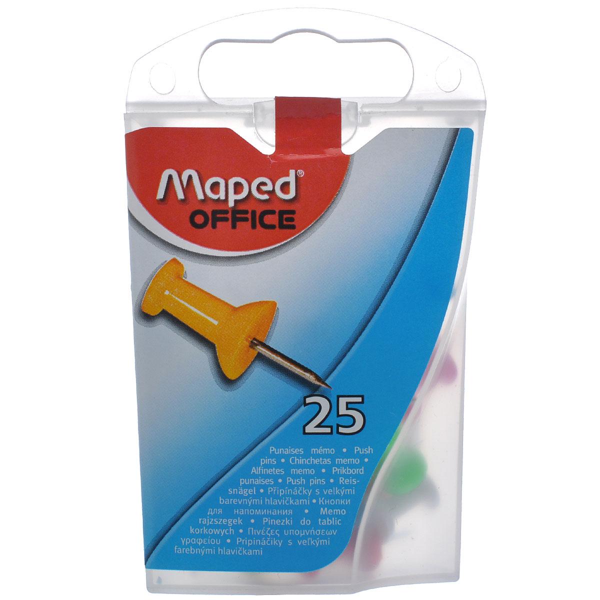 Кнопки-гвоздики канцелярские Maped, цветные, 25 штPP-103Канцелярские кнопки-гвоздики Maped предназначены для крепления информации к пробковым досками и другим поверхностям, удобны для маркировки. Кнопки изготовлены из высококачественного металла с удобными цветными держателями и упакованы в пластиковую коробку с европодвесом. В наборе 25 кнопок-гвоздиков с держателями желтого, красного, белого, розового и голубого цветов.Цветные канцелярские кнопки Maped разбавят строгую офисную обстановку яркими цветами и поднимут настроение. Характеристики:Материал: пластик, металл. Размер кнопки (ДхШхВ): 2,3 см х 0,8 см х 0,8 см. Количество: 25 шт. Размер упаковки (ДхШхВ): 9 см х 5,5 см х 2,5 см.