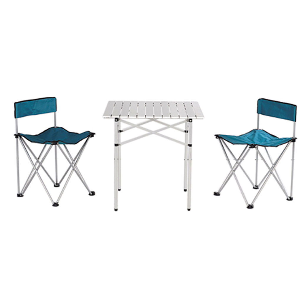 Набор складной мебели Happy Camper, 3 предмета71121Стол складной Happy Camperс 2 стульями - это незаменимый предмет походной мебели, очень удобен в эксплуатации. Каркас и столешница складного стола выполнен из алюминия. Стол и стулья легко собирается и разбирается и не занимает много места, поэтому подходит для транспортировки и хранения дома. Материал: 600D ПВХ, каркас - алюминий, диаметром 13 мм.Размеры стола: 70 см х 70 см х 70 см.Размеры кресла: 56 см х 56 см х 73 см.Максимальная нагрузка на кресло: 100 кг.